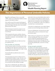 cover of Importance of Personal Umbrella Policy brochure