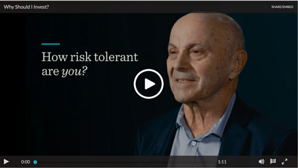 """still frame and link to video, """"How Risk Tolerant Are You"""" by Eugene Fama"""