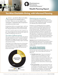 "Cover of report, ""Tax-Wise Charitable Giving, with Informed Planning"""