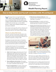 cover image of Wealth Planning Report: How to Help Parents—and Yourself—Live Better at 80, 90 and Beyond