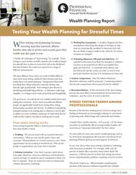 cover of Wealth Report, Testing Your Wealth Planning for Stressful Times