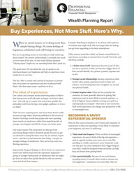 "cover image of Wealth Planning Report, ""Buy Experiences, Not More Stuff. Here's Why"""
