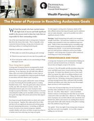 cover of Wealth Planning Report: : The Power of Purpose in Reaching Audacious Goals
