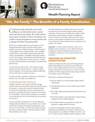 "cover of Wealth Planning Report, ""We, the Family"": The Benefits of a Family Constitution"