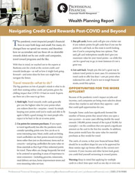 """cover of Wealth Planning Report,""""Navigating Credit Card Reward Post-COVID and Beyond"""""""