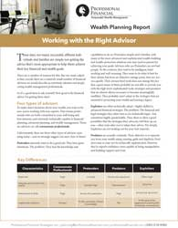 """cover of Wealth Planning Report, """"Working with the Right Advisor"""""""