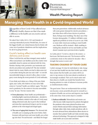 cover image of Wealth Planning Report, Managing Your Health in a Covid-Impacted World
